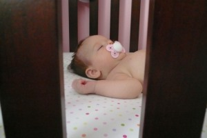 Proof that she is in fact in her crib!