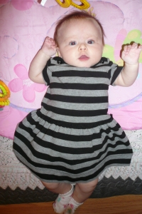 Little jailbird in her stripes!